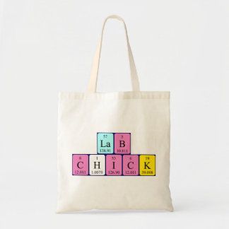 Lab Chick periodic table name tote bag