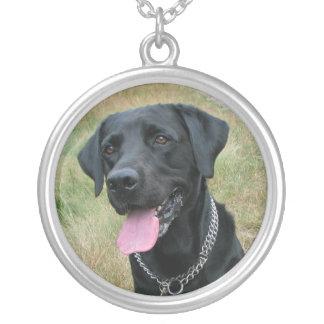 Labrador Retriever dog black necklace, gift idea Round Pendant Necklace