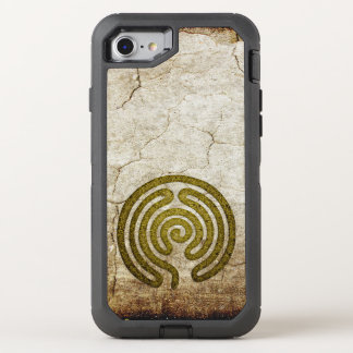 Labyrinth / maze - antique metal + your backgr. OtterBox defender iPhone 7 case
