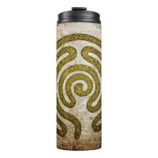 Labyrinth / maze - antique metal + your backgr. thermal tumbler