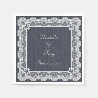 Lace Frame Blue Denim Wedding Paper Napkin