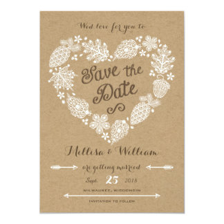 Lacy Leaves - Fall in Love Save the Date 13 Cm X 18 Cm Invitation Card