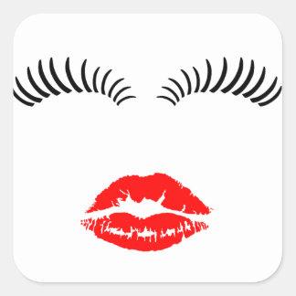 Ladies Eye Lashes and LipStick Kiss Square Sticker