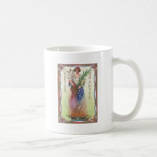 Lady Liberty Eternal Flame Scales of Justice Basic White Mug