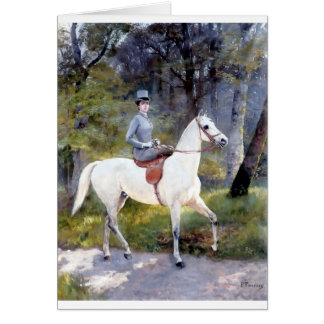Lady Riding White Horse Painting Greeting Card