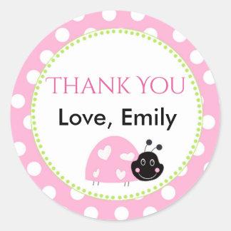 Ladybug Mint Green Pink Polka Dot Favor Label Round Sticker