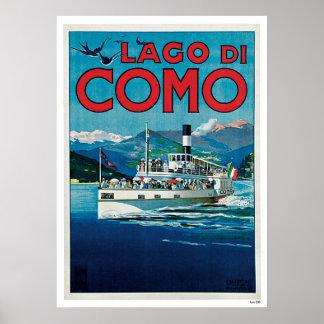 """Lago di Como"" Vintage Italian Travel Poster"