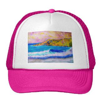 laguna beach splasing waves beach hat