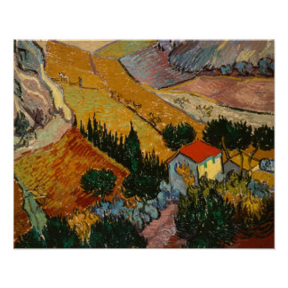 Landscape with House and Ploughman, 1889 Poster