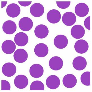 Large Purple Dots on White. Custom Photo Sculpture Badge