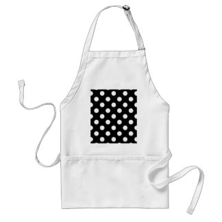Large retro dots - black and white standard apron