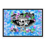 Laughing Skeleton Woman in Bonnet on Blue Pack Of Chubby Business Cards