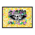 Laughing Skeleton Woman in Bonnet on Yellow Pack Of Chubby Business Cards