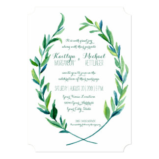 Laurel Wreath Olive Leaf Branch Modern Simple 13 Cm X 18 Cm Invitation Card