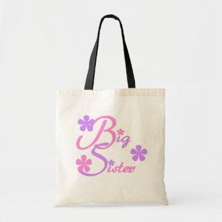 Lavender and Pink Big Sister Tshirts and Gifts Budget Tote Bag