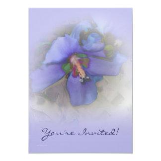 Lavender Blue Hibiscus 13 Cm X 18 Cm Invitation Card