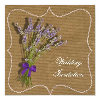 Lavender Bouquet Purple Brown Vintage Inspired 13 Cm X 13 Cm Square Invitation Card