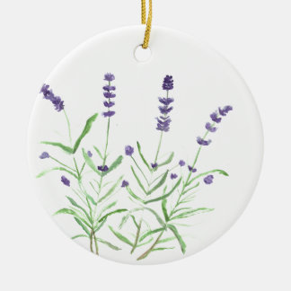 Lavender herb botanical print round ceramic decoration