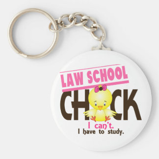 Law School Chick 1 Basic Round Button Key Ring