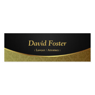 Lawyer / Attorney - Black Gold Damask Pack Of Skinny Business Cards