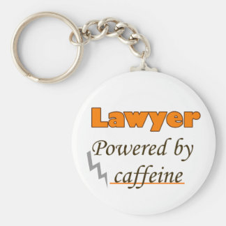 Lawyer Powered by caffeine Basic Round Button Key Ring