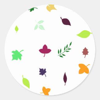 Leaf and Green Round Sticker