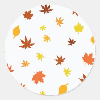 leaf and Maple Round Sticker
