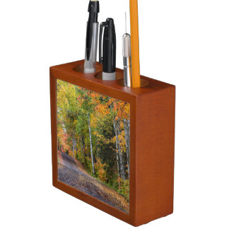 Leaf Strewn Gravel Road With Autumn Color Pencil/Pen Holder