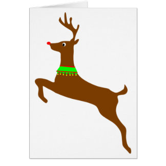 Leaping Rudolph The Red Nose Reindeer Note Card