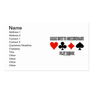 Learn How To Communicate Play Bridge Pack Of Standard Business Cards