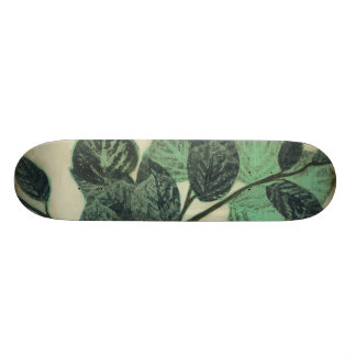 Leaves and Branches on Cream Background Skateboard Decks