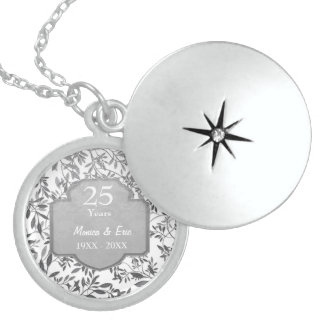 Leaves of Silver 25th Wedding Anniversary Round Locket Necklace