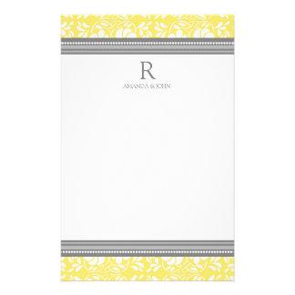 Lemon Gray White Wedding Monogram Stationery