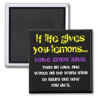 Lemons & Grapes Square Magnet
