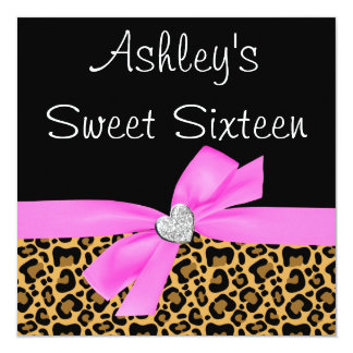 Leopard Pink Bow Diamond Sweet 16 Invitations