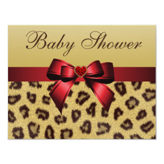 Leopard Print, Bow & Heart Baby Shower 11 Cm X 14 Cm Invitation Card