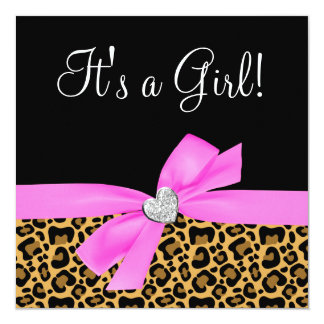 Leopard Print Pink Bow Diamond Girl Baby Shower 13 Cm X 13 Cm Square Invitation Card