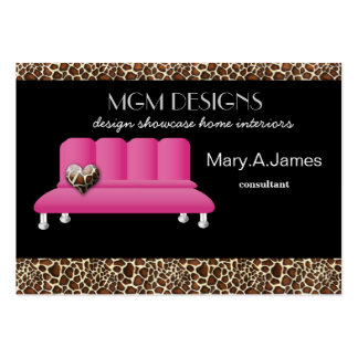 leopard print pink sofa trendy interior decorator pack of chubby business cards