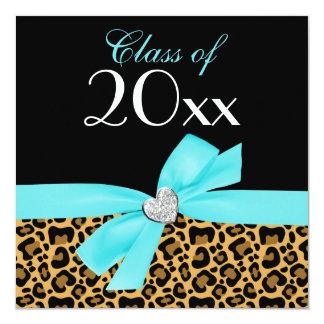 Leopard Print Teal Blue Bow Heart Graduation Party 13 Cm X 13 Cm Square Invitation Card