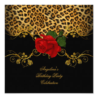 Leopard Roses Red Black Gold Birthday Party 13 Cm X 13 Cm Square Invitation Card
