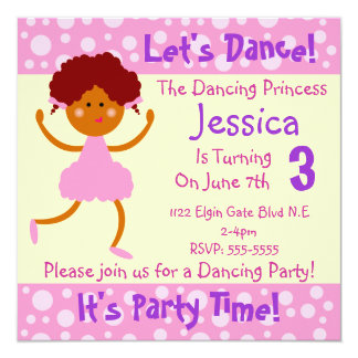 Let's Dance ~ It's Party Time~Kids Birthday Party 13 Cm X 13 Cm Square Invitation Card