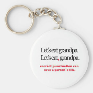 Let's Eat Grandpa Basic Round Button Key Ring