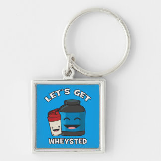 Let's Get Wheysted - Funny Bodybuilding Workout Silver-Colored Square Key Ring