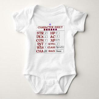 Level 1 Human Baby RPG Character Sheet Shirts