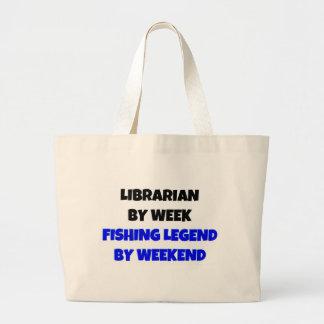 Librarian by Week Fishing Legend By Weekend Jumbo Tote Bag