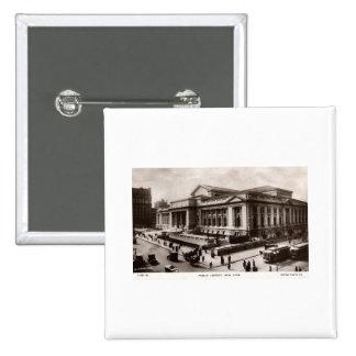 Library, New York City c1910 Vintage 15 Cm Square Badge