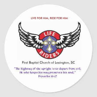 Life Riders wings logo3, LIVE FOR HIM, RIDE FOR... Round Sticker