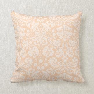 Light Apricot, Peach Damask Pattern Throw Cushion