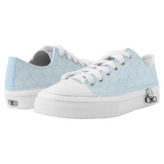 Light Blue, Damask Pattern Printed Shoes