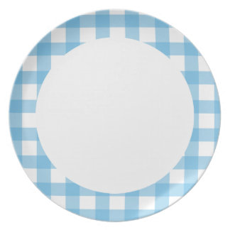 Light Blue Gingham Party Plates